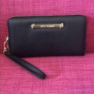 Betsey Johnson Zip Around Wristlet/Wallet, Black